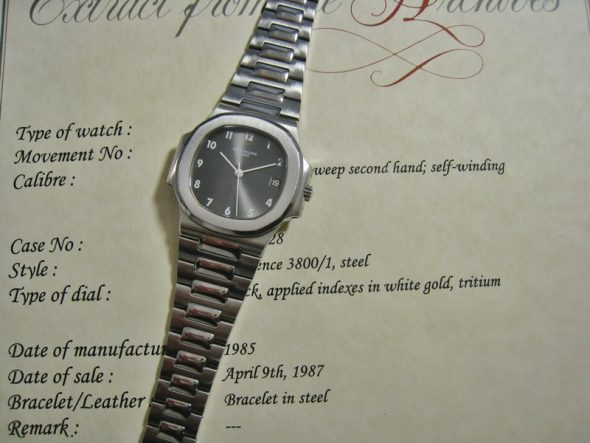 ref.3800 Steel Nautilus with Arabic numerals
