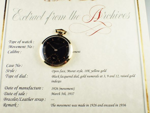 Pocket watch Yellow gold with Black dial ¥2,160,000.-