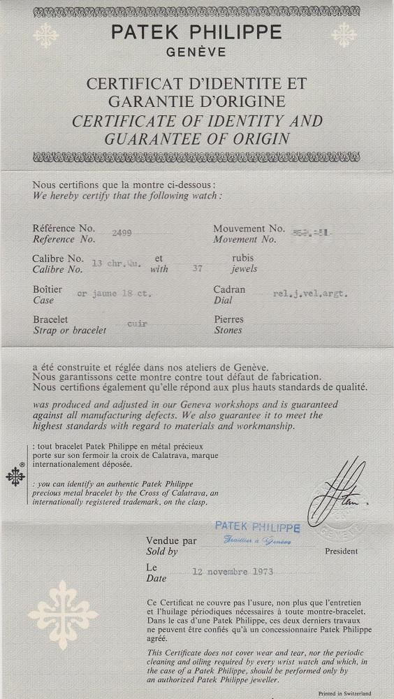 ref.2499 Yellow N.O.S. Box & Paper