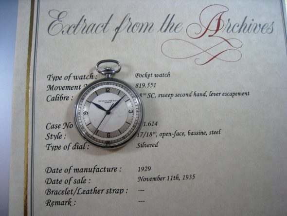 ref.652 steel with sector dial
