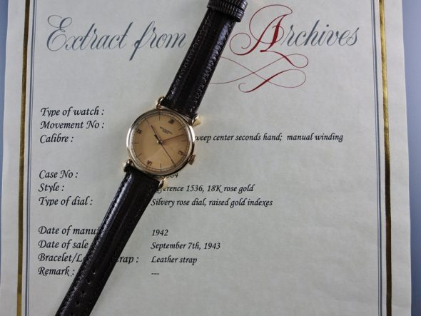 ref.1536 Rose with rose dial and indirect sweep seconds hand