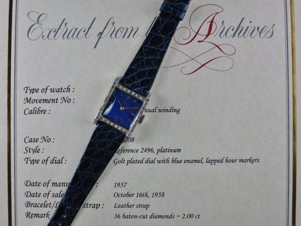 ref.2496 platinum with blue enamel dial