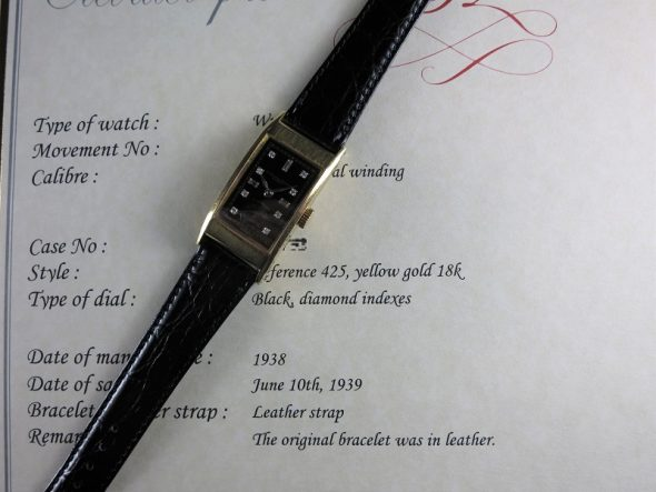 ref.425 yellow with black dial and diamond indexes