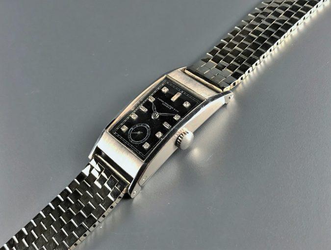 ref.425 プラチナ、ブラックダイヤル&ダイヤモンドインデックス