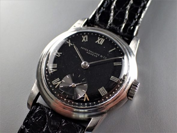 ref.592 steel with black dial