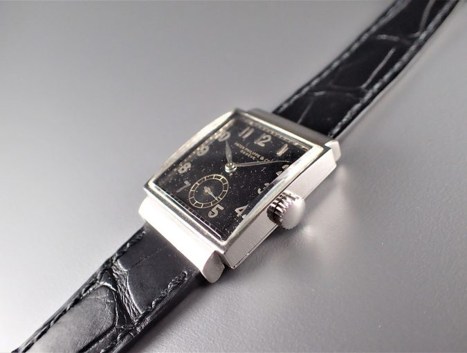 ref.1408 Steel with Black dial and arabic numerals